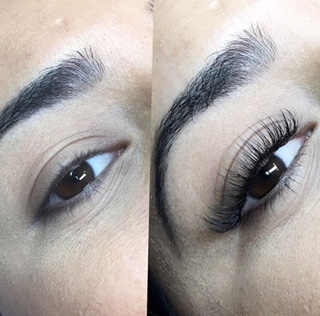 Before and after Lady Red Lash extensions